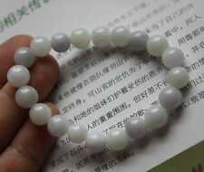 "Certified ""Grade A"" 100% Natural Beautiful Light Lavender JADE Beads Bracelet"