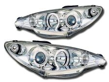 2 FEUX PHARE AVANT ANGEL EYES A FOND CHROME PEUGEOT 206 3P 5P CC & SW