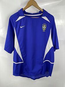 Brazil XL Blue Away World Cup 2002 Jersey Short Sleeve Shirt Nike Football Retro