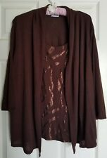Brown Sequin Front Top Built-in Open-front Fly Cardigan ~ Kim Rogers Size 1X