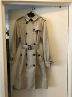 Authentic Burberry Womens Trench Coat US 8, Stone, Removable Lining & Hood, Long