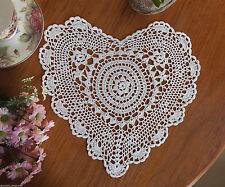 Fine Yarn Hand Crochet Lace Heart Shape Cotton Doily Placemat 28x30CM White