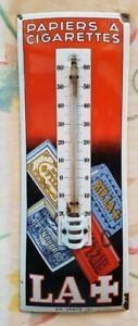 Ancienne plaque émaillée thermomètre Riz la + papier cigarettes top 1930