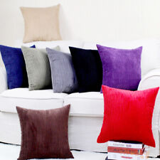 """Simple Thick Velvet Stripes Both Sides Deco Cushion Cover Throw Pillow Case 17"""""""