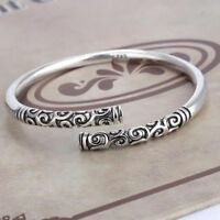Fashion Men Women 925 Silver Plated Carved Cudgel Bangle Cuff Bracelet Wristband
