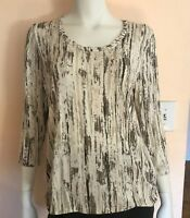 Chicos Womens 3/4 Sleeve White Beige Brown Patterned Blouse Size 1