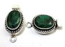 1 PIECE 26X15X10MM EMERALD BALI BOX CLASP 1 STRAND  STERLING SILVER PLATED 620