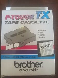 P-Touch TX-1551 White on Clear Tap Cassette - 10146774