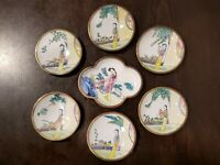 7 colorful Chinese Oriental enameled brass vintage Cloisonné plates