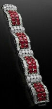 Solid 925 Sterling Silver Women's Round Baguette Beautiful Bracelet 11.30 Carat