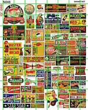 N048 DAVE'S DECALS N Scale MID CENTURY FARM, SODA, SHOES, ASSORTED MIXED SIGNAGE