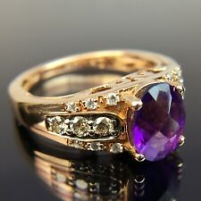 Le Vian 14k Chocolate & White Diamond Amethyst Rose Gold Ring Size 4.5