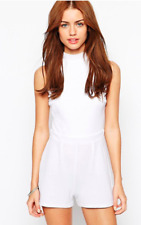 New Look Ladies Petite High Neck Textured Playsuit in White UK16/EU44/US12