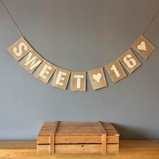 ❤️16th Birthday Bunting Banner. Sweet 16. Vintage Hessian Rustic❤️