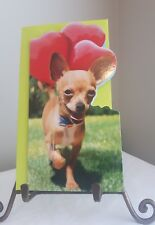 "AVANTI VALENTINES DAY CARD chiwawa Dog LOVE heart balloons ""Hugs and Kisses"""
