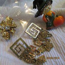 Vintage Plastic Halloween Pin Gold-tone Dangle ERs Rhinestone Brooch Jewelry Lot