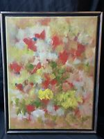 Vintage 1966 Abstract floral still life oil painting artist signed