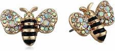 Womens Betsey Johnson Gold-tone Bumble Bee Stud Earrings