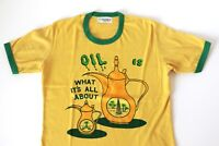 70s 80s Ringer Tee T-Shirt Yellow Green Political Oil what its all about Small S