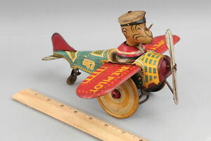 Antique 1930s Marx, Tin Wind-Up Popeye the Pilot Airplane Toy NO RESERVE!
