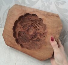 Vintage French Carved Wooden Fish Carp Design Butter Mould like Biscuit Mould