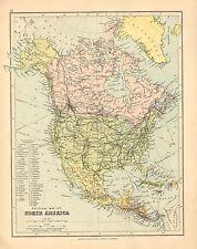 Mapa de 1902 ~ ~ América del Norte Estados Unidos Canadá México Cuba Jamaica
