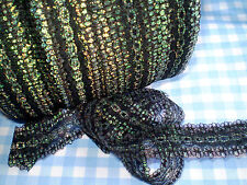 "Eyelet/knitting in/coathanger lace 10 metres x 3.5 wide ""Black Opal"" colour"