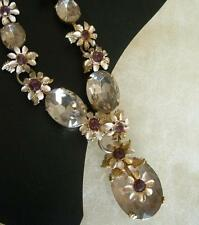 FABULOUS VTG Rhinestone Drop Dangle STATEMENT Necklace Enamel Flower PINK PURPLE