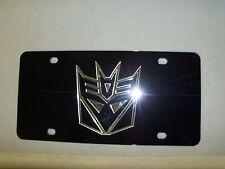 Decepticon Transform Mirror Laser License Plate Black/Silver  NEW!!