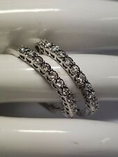 LARGE 10K WHITE GOLD DIAMOND HOOP EARRINGS 1.0 CTTW