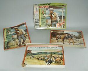 ORIGINAL 1957 CHEYENNE CLINT WALKER 3 PUZZLES COMPLETE IN BOX BY MILTON BRADLEY