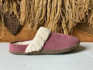 Sorel Womens Pink Faux Fur Round Toe Casual Slip On Mules Flats Sandals Size 7