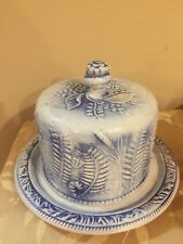 Flow Blue Covered Cake Plate Beautiful Molded Fern Design - Marked Crown M-C  sc 1 st  eBay & Covered Cake Plate | eBay