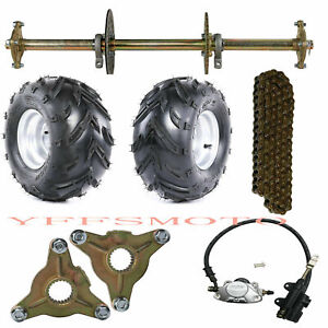"32"" Gokart Drift Rear Axle Sprocket Disc 428# Chain +Brake Assembly+7"" Wheel Rim"