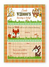 Woodland Critters Shower LARGE Invitations - 10 Invitations 10 Envelopes