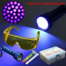 Leak Detector A/C Fluid Gas 14LED UV Black Light & Safety Glasses Detection Kit