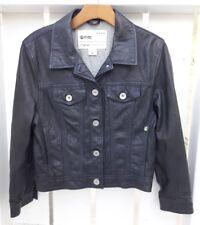 Ever Brand Womens Lambskin Leather Jacket Size Large Dark Blue Grey Trucker