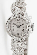Antique 1940s $8000 3ct VS G Diamond Hamilton 14k White Gold Ladies Watch WARRTY