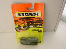 1995 MATCHBOX SUPERFAST #54 MILLITARY OLIVE GREEN ABRAMS M1 TANK NEW DAMAGE CARD