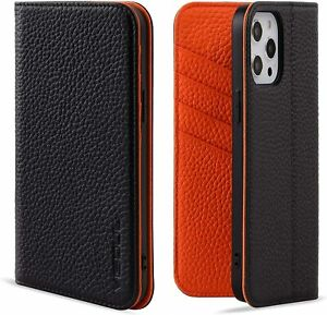 VISOUL iPhone 12 Pro Max Case,Genuine Leather Magnetic Closure Book Stand Wallet