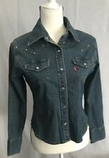 Levi's Women's Jean Denim Shirt Western Pearl Snap Studded Fitted Size Small