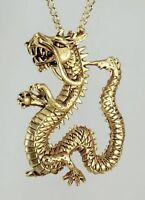 """Dragon Pendant Gold Plated with 18"""" Gold Plated Chain 1"""" x 1.6"""""""