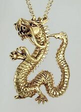 """Gold Plated Chinese Dragon Pendant with 18"""" Gold Plated Chain 1"""" x 1.6"""""""