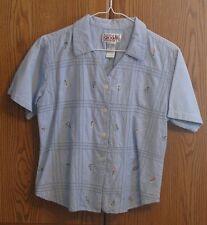 Bill Blass Button-Down Cotton Short sleeve top shirt  flowers - Small   BB102