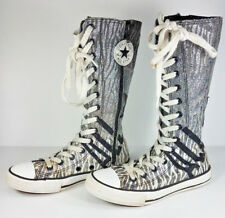 Converse All Star silver black glitter lace up calf high sneakers youth girls 1