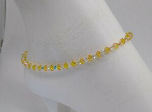 Handmade w/ Swarovski Crystal Light Topaz Shimmer 2X Beaded Anklet or Bracelet