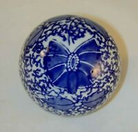 Glazed Porcelain Carpet Bowl Ball Cobalt Blue on White Foliate Floral Butterfly