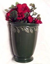 Sage Green Longaberger Vase with Geranium Silk Flower New Great Gift