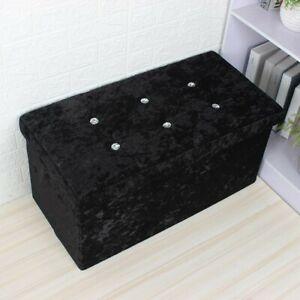 BLACK Velvet ottoman storage box with diamonte double size
