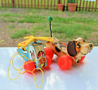 Lot/2 Vintage Antique TOYS FISHER-PRICE PULL MINI COPTER & SNOOPY DOG Both excel